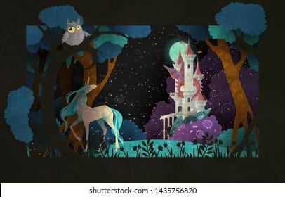 Buchcover-Märchen-Illustration vor Schloss, Drache, Nachthimmel und Mond