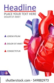 Book cover low poly human heart. Annual report. A4 Medical journals, conferences, magazines. Academic research. Vector illustration.