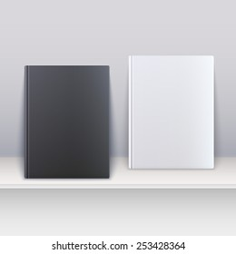 Book cover. Magazines standing on the shelf. Vector illustration.