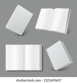 Book cover mockup. Realistic blank booklet cover, white brochure surface, empty paperback magazine mock up. Books 3D vector set