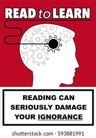 Book Cover with Reading can seriously damage ignorance