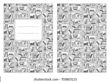 Book cover template for booklets or notebooks, with hand drawn bookshelf in black and white