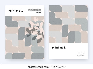 Book cover template design, symmetrical curved block shapes pattern with leaves, minimalist brown and grey tones
