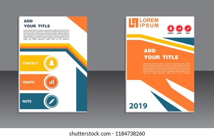 book cover vector modern brochure, abstract flayer with background of buildings. City scene. Layout template.