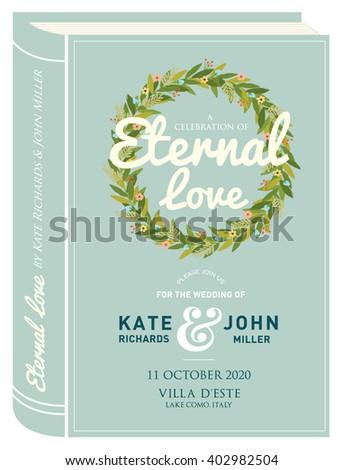 book cover wedding invitation card template のベクター画像素材
