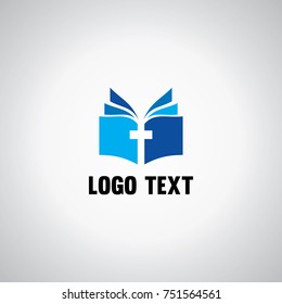 book and cross christian logo