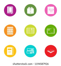 Book day icons set. Flat set of 9 book day vector icons for web isolated on white background