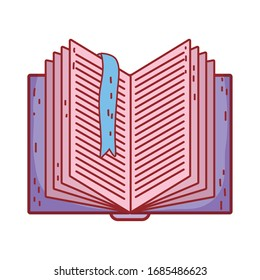 book day, open textbook with bookmark read isolated icon design vector illustration