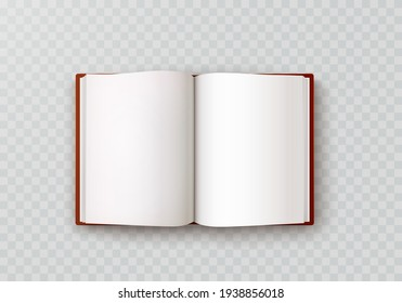 Book, diary or notebook mockup with white paper blank pages isolated on transparent background. Vector 3d sketch empty album and brown leather hardcover template