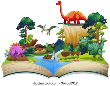 Book of dinosaur in the forest illustration