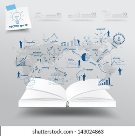 Book with drawing charts and graphs business strategy plan concept idea on world map, Vector illustration template design