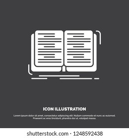 book, education, lesson, study Icon. glyph vector symbol for UI and UX, website or mobile application