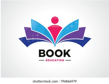 Book Education Logo Template Design Vector, Emblem, Design Concept, Creative Symbol, Icon