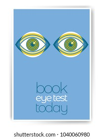 Book an eye test today. Ophthalmology abstract poster design with illustration. Human eye vector icon design, geometric style design. Medical illustration for cover, advertisement, poster design.