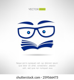 Book face with glasses icon. Learning and reading concept. Vector illustration