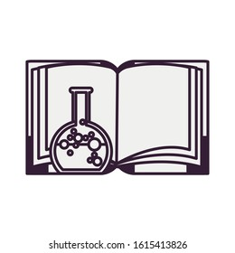 book fairytale with spell bottle vector illustration design