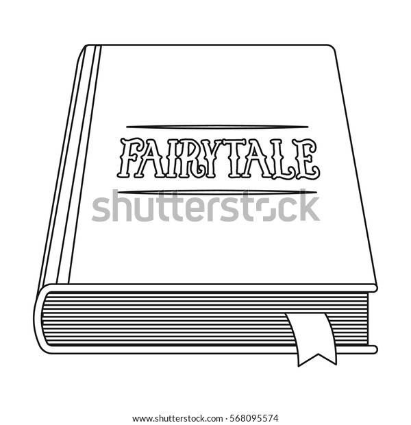 Book with fairytales icon in outline style isolated on white background. Sleep and rest symbol stock vector illustration.