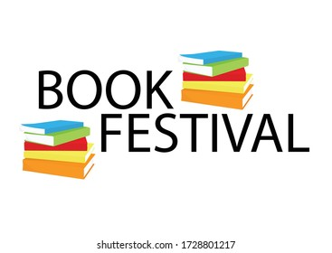 Book festival banner, poster stack of books. Reading book concept