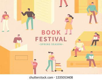 Book Festival Concept Poster. People who read books in the library. flat design style minimal vector illustration