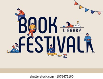 book festival concept poster. vector illustration flat design