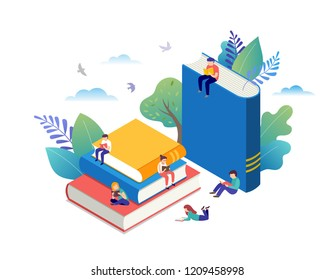 Book festival concept of a small people reading a open huge book. Vector illustration, poster and banner