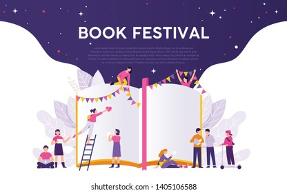 book festival illustration vector concept, people work for book festival, open big book with colourful flag for party and festival