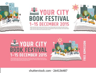 Book Festival poster concept, vector Illustration