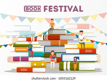 Book festival poster with stacks of big books and small people characters. Literature event, bookstore advertising template, book fair banner with reading people vector illustration in flat style.
