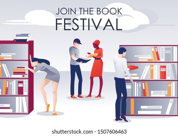 Book Festival Promotion Poster People in Library. Women and Men Reading, Looking for Paper Editorial, Discussing Previously Read. Writers, Fans in Library, Bookstore, Athenaeum. Vector Illustration