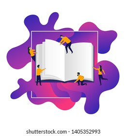 Book festival  - small cartoon people reading and flipping pages of big book on bright liquid background - conceptual creative vector illustration