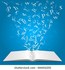 Book with flying letters. Vector illustration