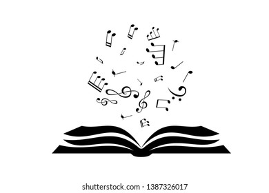 Book with flying up notes . Vector isolated decoration element from scattered silhouettes. Conceptual illustration of creative learning and motivation for communication.