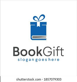 Book and gift logo combination present Design Template Vector Stock. Box Gift Book and Souvenir Shop Logo  Icon.