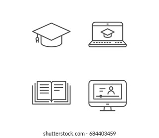 Book, Graduation cap and Video tutorial line icons. Laptop, Student and Internet Lectures signs. Notebook and Webinar symbols. Quality design elements. Editable stroke. Vector