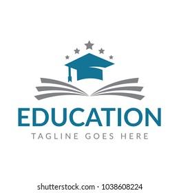 Book and Graduation Icon Vector. Education Logo Template