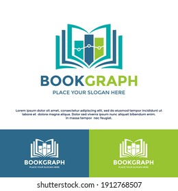 Book graph or stats vector logo template. This design use chart symbol. Suitable for finance and education.