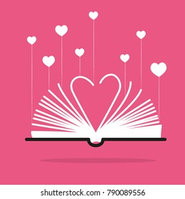 Book - graphic for business design, infographics, reports or workflow layout in flat style - love heart theme
