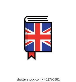 Book in hardcover of English flag. English dictionary flat vector icon on white background. Learn foreign language