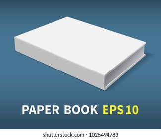 The book is in hardcover. He lies on the table. A clean white cover for your business that decorates your creativity. With soft shadows, a realistic image. Isolated. Vector illustration.