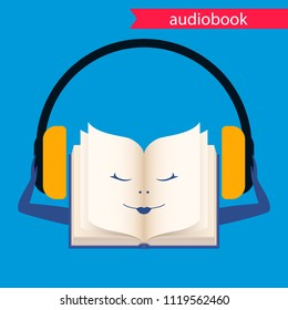 Book with headphones, audiobook icon. vector flat illustration.