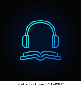 Book with headphones blue icon - vector audiobook concept minimal linear sign on dark background