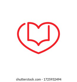 Book and heart outline symbol on white backdrop. Loving books concept