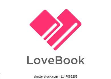 Book Heart symbol logo icon design template elements. Vector Illustration.