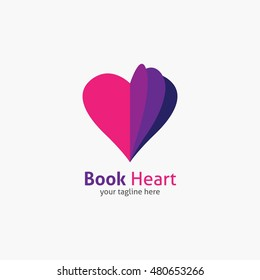 Book Heart symbol logo icon design template elements. Vector Illustration.