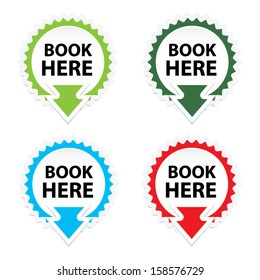 Book Here button, icon, sticker or symbols on white background - Vector.