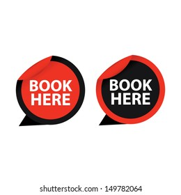 Book here red and black stickers set. Vector