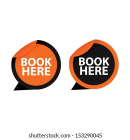 Book here sticker, label, icon, sign, symbol color orange set. Vector