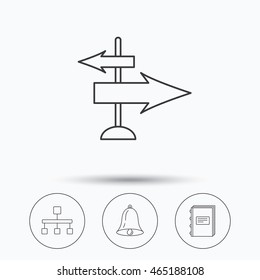 Book, hierarchy and direction arrows icons. Alarm bell linear sign. Linear icons in circle buttons. Flat web symbols. Vector