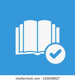 Book icon, education icon with check sign. Book icon and approved, confirm, done, tick, completed symbol. Vector illustration