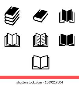 Book icon isolated on white background, reading vector for web or mobile